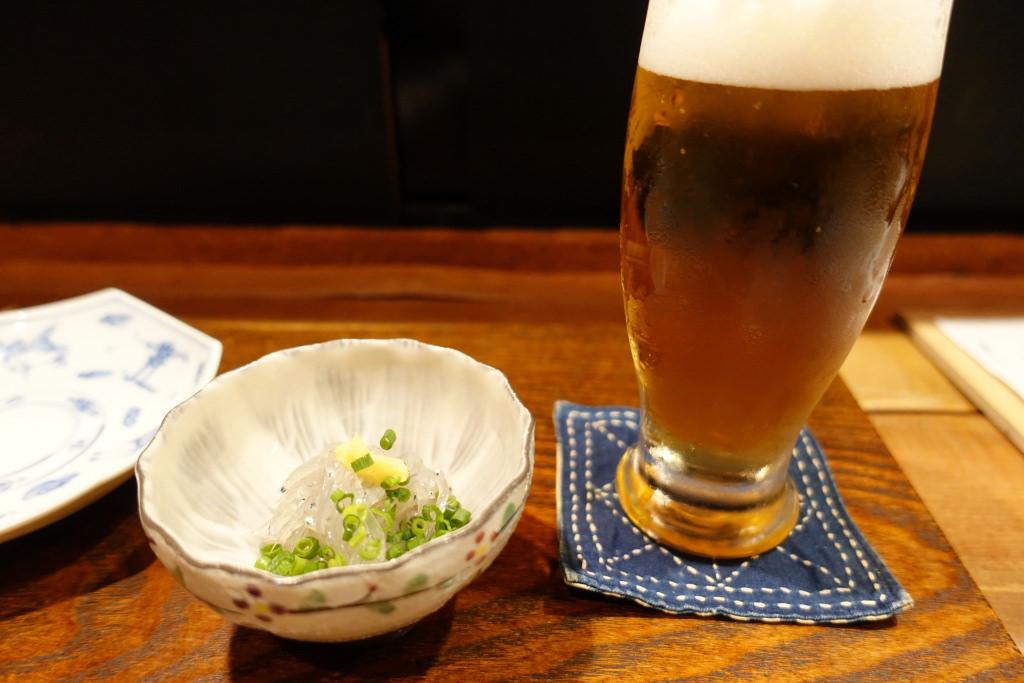 ビールと生しらす