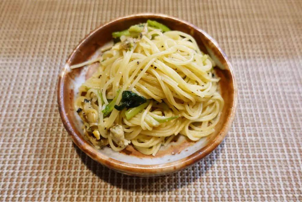 小松菜とアサリのペペロンチーノ