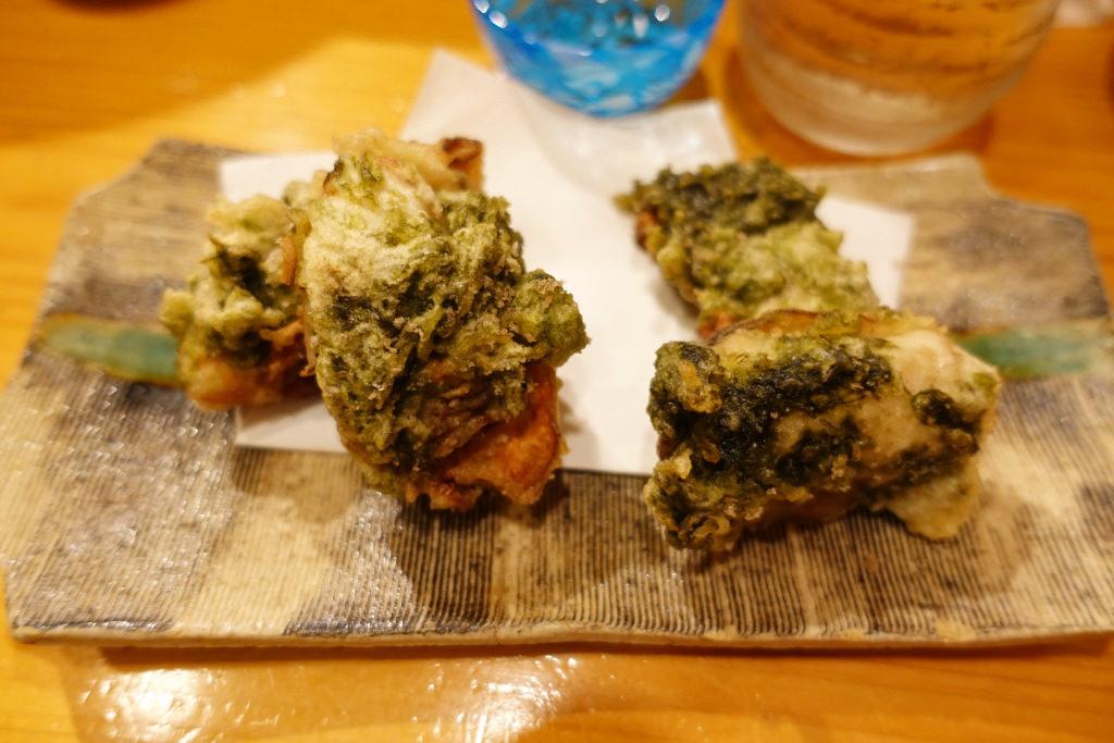 カキと新海苔の天ぷら
